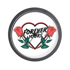 Forever Yours R Roses Wall Clock