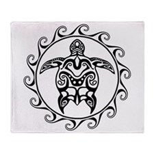 Black Tribal Turtle Sun Throw Blanket