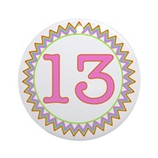 Number 13 Sherbert Zig Zag Round Ornament