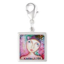 knowledge Silver Square Charm