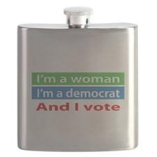 Im A Woman, a Democrat, and I Vote! Flask