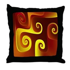 """Yellow On Red"" Fractal Art Throw Pillow"