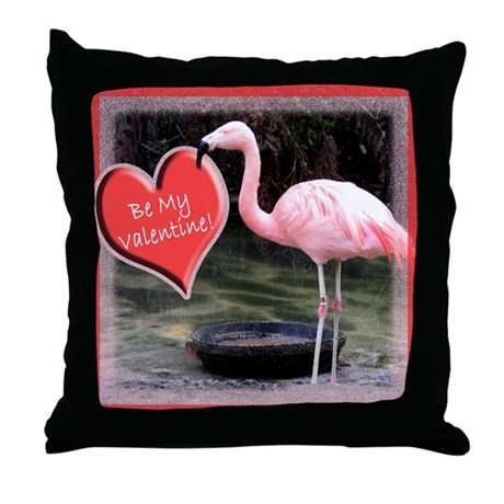 Helaine's Flamingo Valentine Throw Pillow