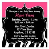 Black and pink zebra invitations 5.25 x 5.25 Flat Cards