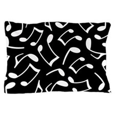 Music Notes Black and White Pillow Case
