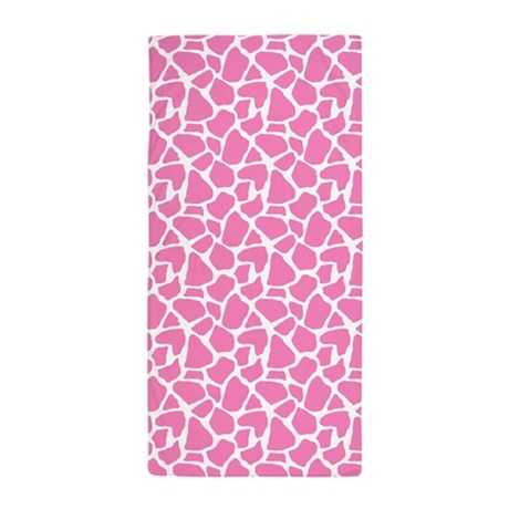 Pink Giraffe Pattern Beach Towel