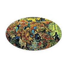 Van Gogh - Red Vineyards at Arles Oval Car Magnet