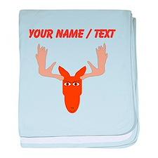Custom Cartoon Moose Head baby blanket