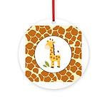 Yellow Giraffe with Giraffe Print Ornament (Round)