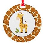 Yellow Giraffe with Giraffe Print Ornament
