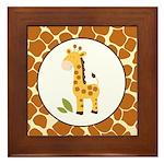 Yellow Giraffe with Giraffe Print Framed Tile