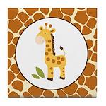 Yellow Giraffe with Giraffe Print Tile Coaster