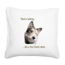 French Whine Square Canvas Pillow