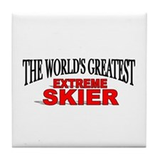 """The World's Greatest Extreme Skier"" Tile Coaster"