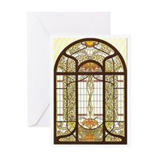 Art Nouveau Stained Glass - Template Greeting Card