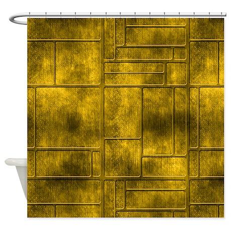 Industrial Golden Metal Shower Curtain By Manchesterandbedding