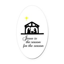 Jesus Is The Reason Nativity Scene Oval Car Magnet