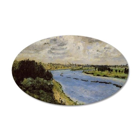 Renoir: Barges on the Seine 35x21 Oval Wall Decal