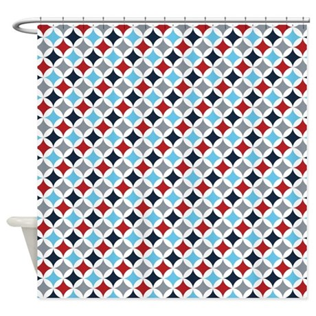 Red White And Blue Diamonds Shower Curtain By ColorfulPatterns