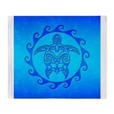Blue Ocean Maori Turtle Throw Blanket