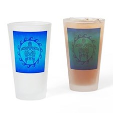 Blue Ocean Maori Turtle Drinking Glass