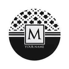 "Simple Pattern Black Monogram 3.5"" Button"