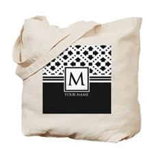 Simple Pattern Black Monogram Tote Bag