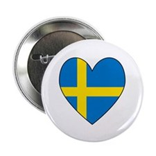 "Swedish Flag Heart 2.25"" Button (10 pack)"