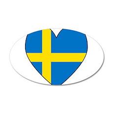 Swedish Flag Heart 35x21 Oval Wall Decal