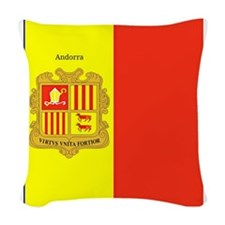 Flag of Andorra (labeled) Woven Throw Pillow