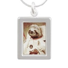 Astronaut Slot Silver Portrait Necklace