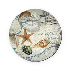 nautical seashells vintage map Cork Coaster