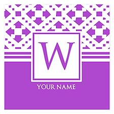 Purple Monogram Personalized 5.25 x 5.25 Flat Card
