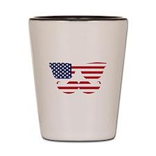 American Flag Mustache Face Shot Glass