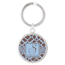 Teal Coffee Geometric Pattern Round Keychain