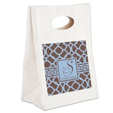 Teal Coffee Geometric Pattern Canvas Lunch Tote