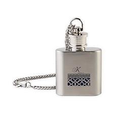 Navy Blue Quatrefoil Pattern Flask Necklace