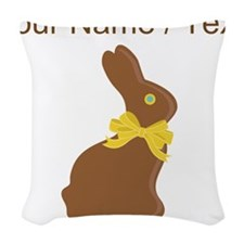 Custom Chocolate Bunny Woven Throw Pillow