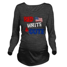 red white cute.png Long Sleeve Maternity T-Shirt