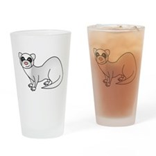 Cute Ferret with Silver Coat Drinking Glass