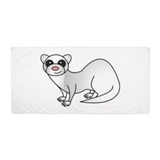 Cute Ferret with Silver Coat Beach Towel