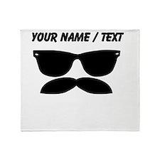 Custom Sunglasses Mustache Throw Blanket