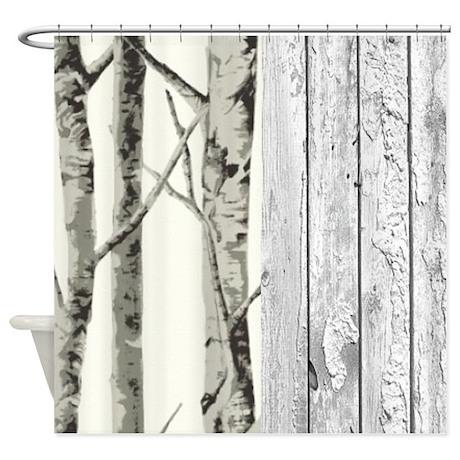 Bathroom d 233 cor gt barnwood birch tree western country shower curtain