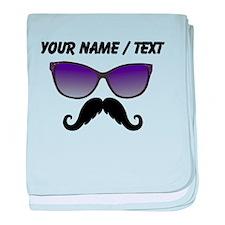 Custom Sunglasses Mustache baby blanket
