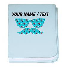 Custom Stars Sunglasses Mustache baby blanket