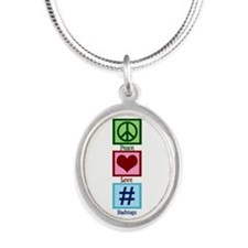 Peace Love Hashtags Silver Oval Necklace
