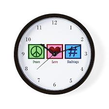 Peace Love Hashtags Wall Clock