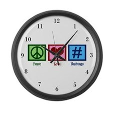 Peace Love Hashtags Large Wall Clock