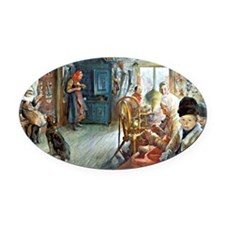 Carl Larsson - Peasant Interior in Oval Car Magnet