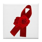 AIDS RIBBON & ROSES Tile Coaster